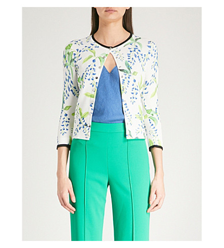 KAREN MILLEN Wisteria-print cropped knitted cardigan (Multi-coloured