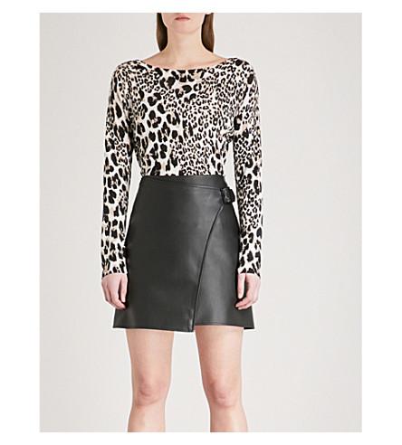 KAREN MILLEN Leopard-pattern knitted top (Multi-coloured