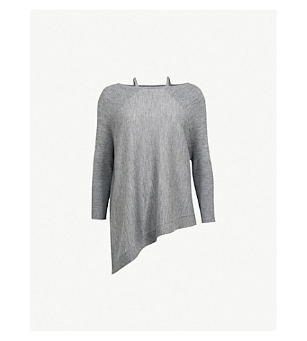 KAREN MILLEN Asymmetric-hem wool jumper (Grey
