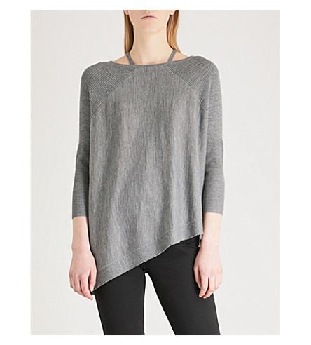 KAREN MILLEN Asymmetric-hem wool jumper (Grey