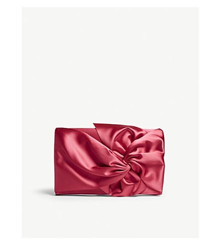KAREN MILLEN Oversized satin-finish bow clutch (Pink