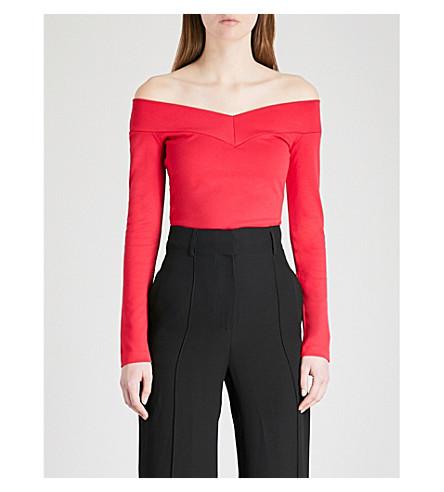 KAREN MILLEN Off-the-shoulder jersey top (Red