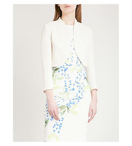 KAREN MILLEN Cropped crepe jacket (Cream