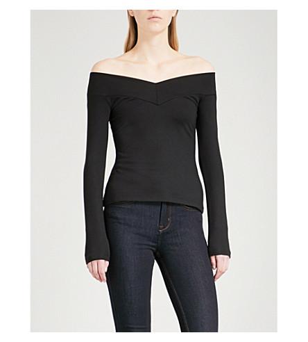 KAREN MILLEN Off-the-shoulder jersey top (Black