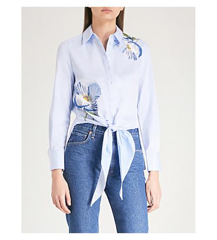 KAREN MILLEN Floral-embroidered self-tie cotton shirt (Multi-coloured