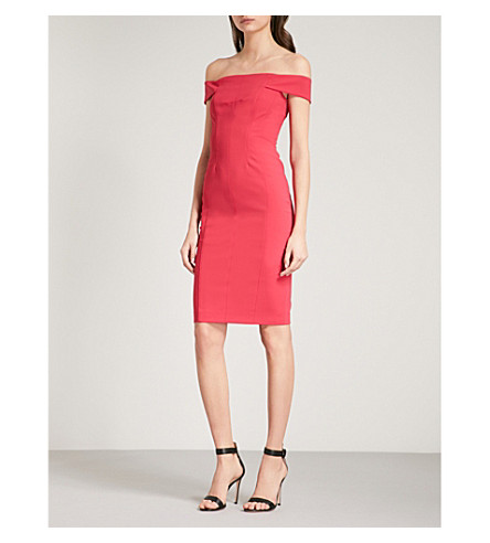 KAREN MILLEN Off-the-shoulder crepe dress (Pink