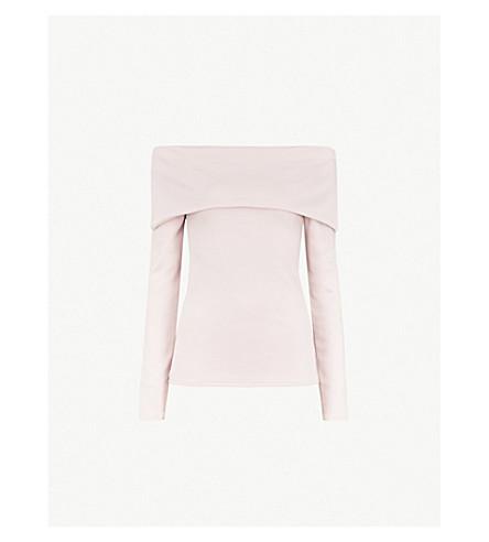 KAREN MILLEN Folded off-the-shoulder jersey top (Pale+pink
