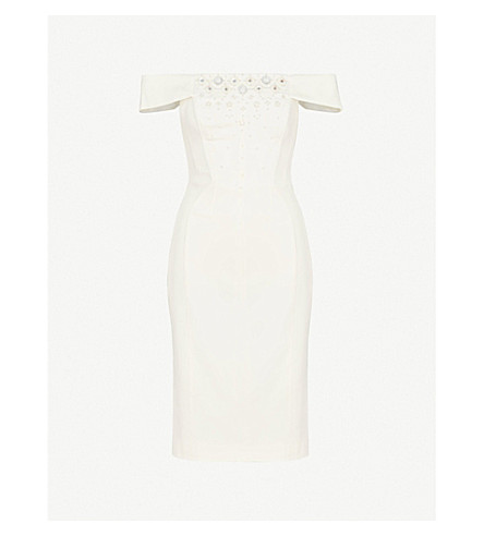 KAREN MILLEN Off-the-shoulder embellished crepe dress (Cream