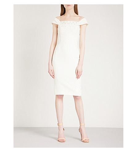 KAREN MILLEN Off-the-shoulder embellished crepe dress (Cream