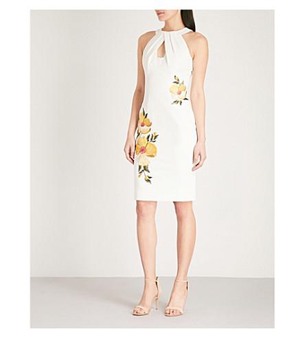 KAREN MILLEN Floral-embroidered crepe dress (Multi-coloured