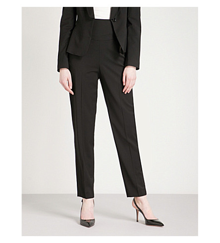 KAREN MILLEN Tailored-fit tapered woven trousers (Black