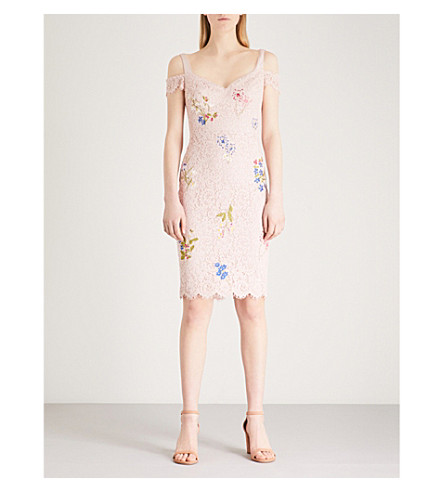 KAREN MILLEN Sweetheart floral-embroidered lace dress (Multi-coloured