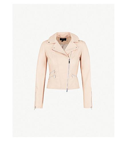 KAREN MILLEN Cropped leather biker jacket (Pale+pink