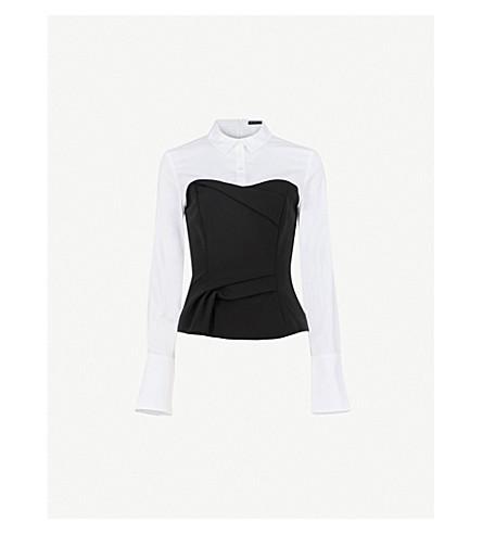KAREN MILLEN Corset-overlay cotton-blend shirt (Monochrome
