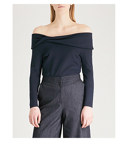 KAREN MILLEN Off-the-shoulder jersey top (Navy