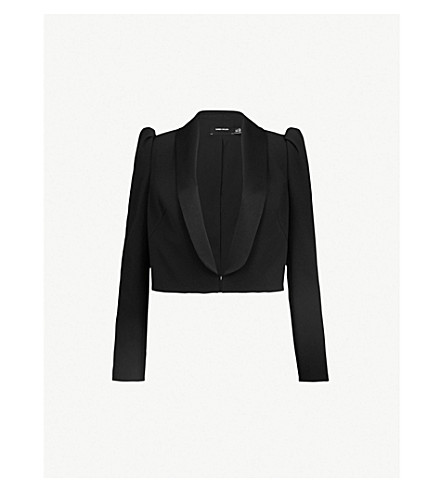 KAREN MILLEN Shawl-lapel cropped crepe jacket (Black