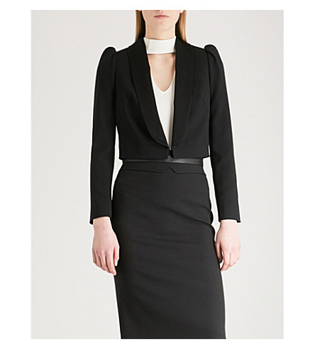 KAREN MILLEN Shawl-lapel cropped crepe jacket (Black
