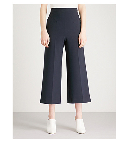 KAREN MILLEN Wide-leg cropped high-rise woven culottes (Navy