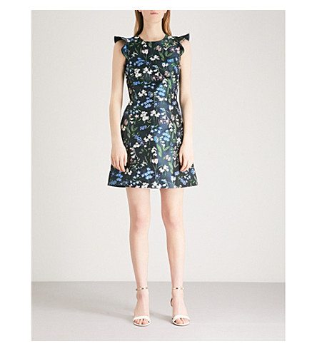 KAREN MILLEN Ruffled-sleeve floral-jacquard mini dress (Grey