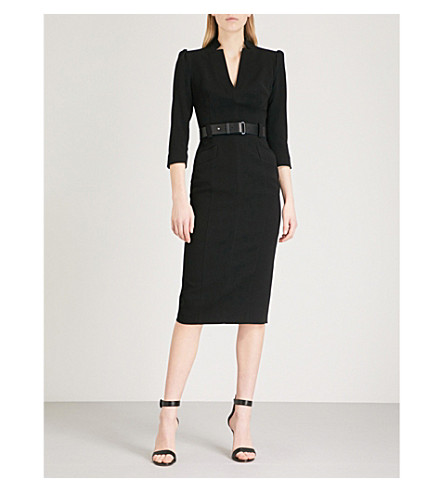 KAREN MILLEN Belted crepe dress (Black