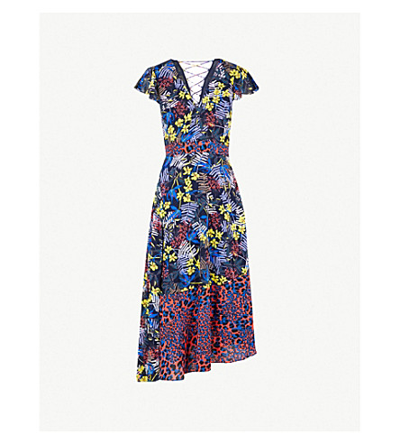 KAREN MILLEN Asymmetric georgette midi dress (Grey