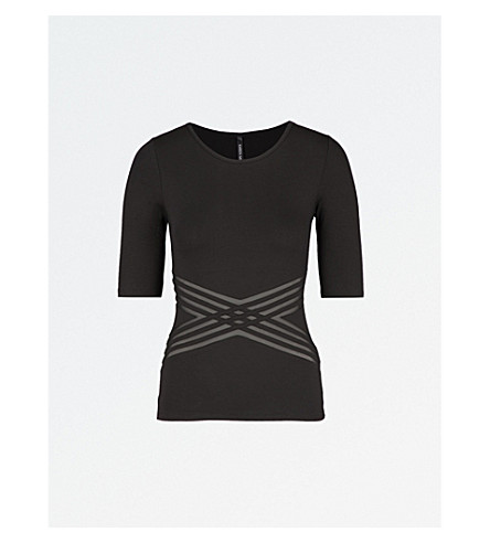 KAREN MILLEN Cross mesh-panel jersey T-shirt (Black