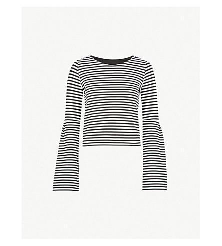 KAREN MILLEN Striped puff-sleeve jersey top (Monochrome