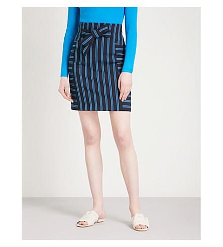 KAREN MILLEN Bow-front striped woven mini skirt (Multi-coloured