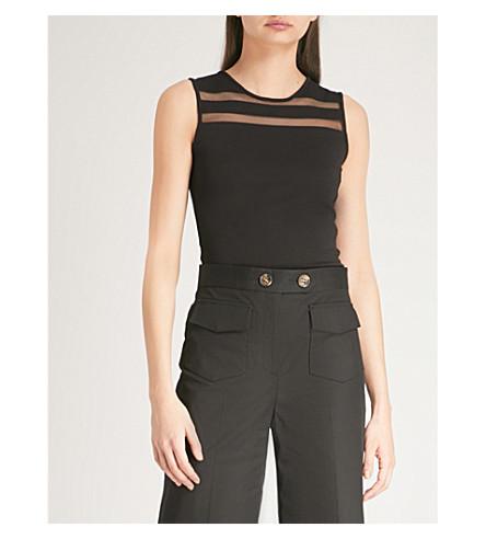 KAREN MILLEN Mesh-panel sleeveless jersey top (Black