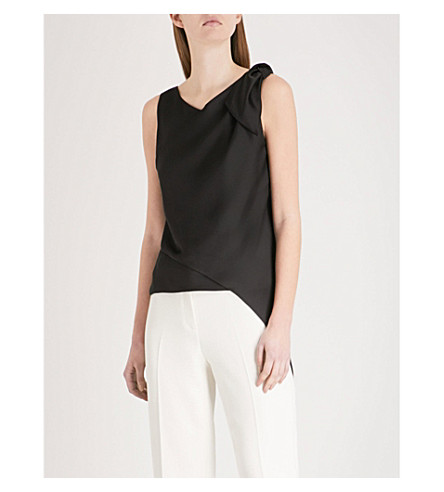 KAREN MILLEN Knot draped satin top (Black