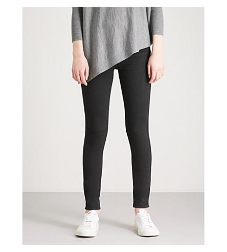 KAREN MILLEN Button-detail skinny high-rise stretch-denim leggings (Black