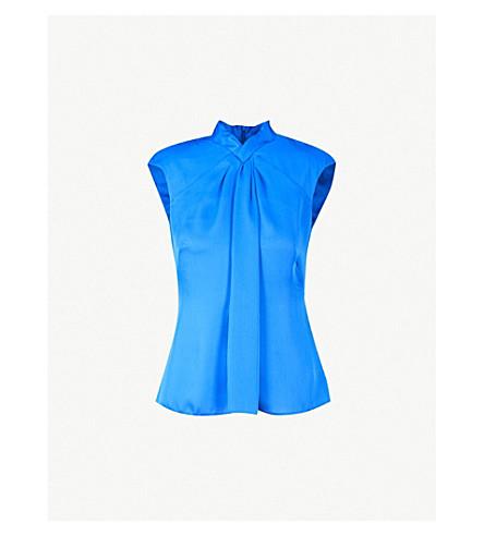 KAREN MILLEN Front-draped crepe top (Blue