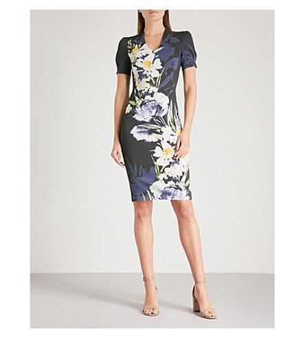 KAREN MILLEN Floral-print woven pencil dress (Grey