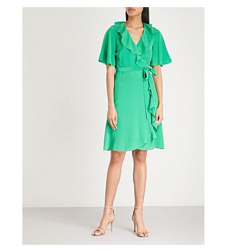 KAREN MILLEN Silk-satin wrap dress