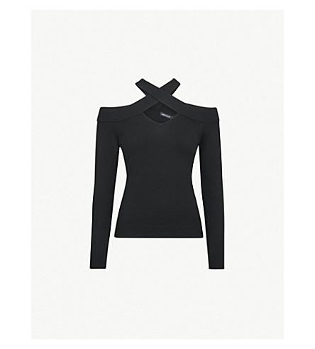 KAREN MILLEN Cross-over cold-shoulder jersey top (Black