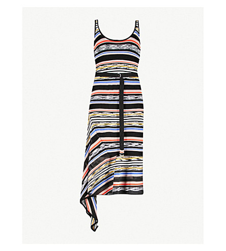 KAREN MILLEN Striped crepe knit dress (Grey