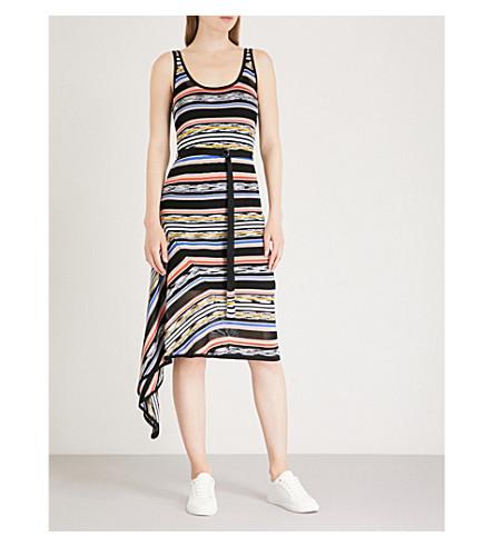 KAREN MILLEN Striped crepe knit dress (Grey
