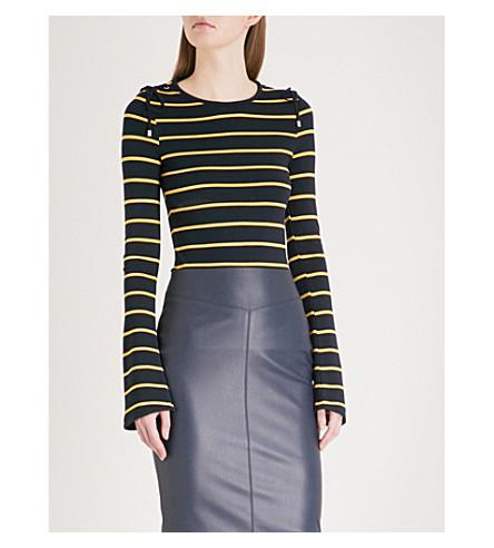 KAREN MILLEN Lace-up detail striped stretch-jersey top (Multi-coloured