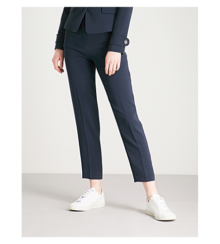 KAREN MILLEN Tailored-fit tapered high-rise woven trousers (Navy