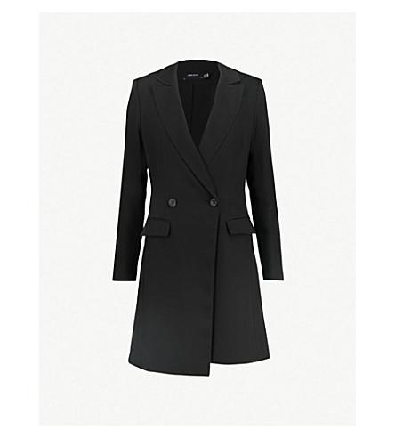 KAREN MILLEN Double-breasted woven blazer dress (Black