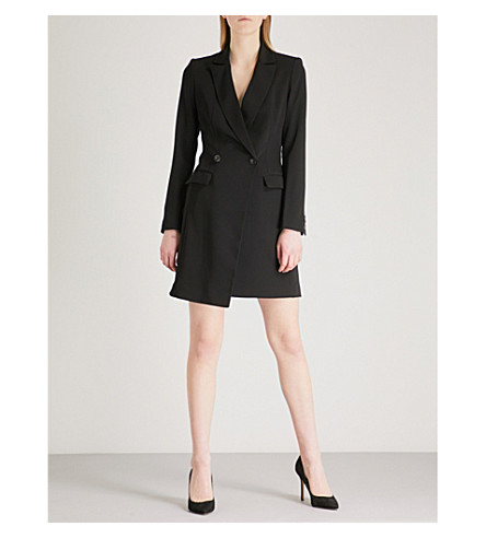 KAREN MILLEN Double-breasted woven blazer dress (Black