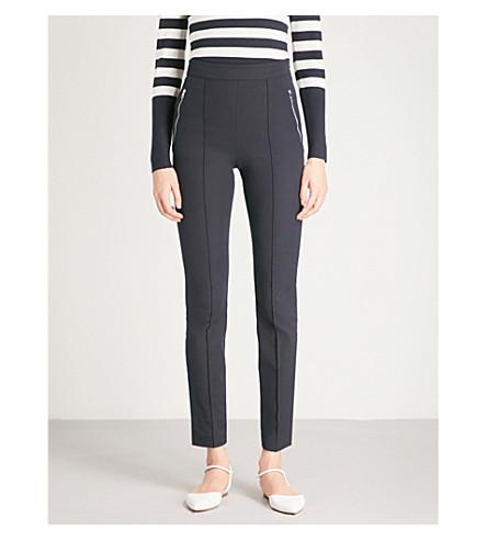 KAREN MILLEN High-waist cotton-blend trousers (Navy