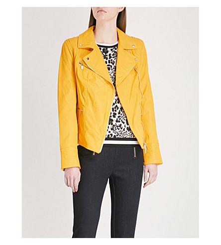 KAREN MILLEN Washed leather biker jacket (Yellow