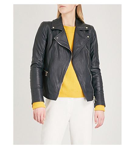 KAREN MILLEN Leather biker jacket (Navy