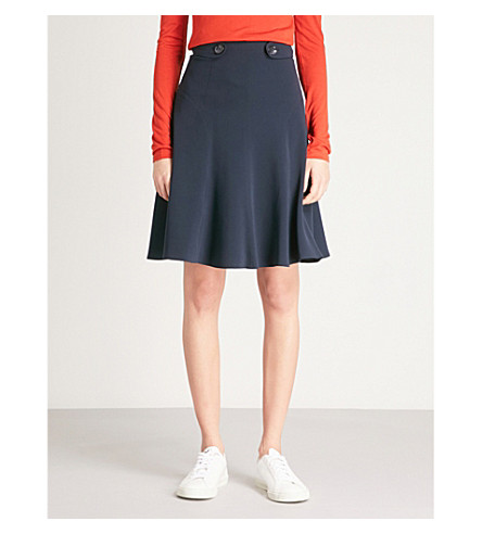 KAREN MILLEN High-waist crepe skirt (Navy