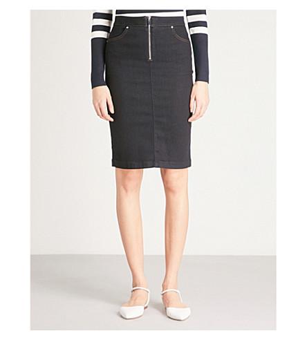 KAREN MILLEN High-rise denim skirt (Navy