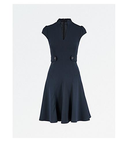 KAREN MILLEN Buttoned crepe dress (Navy