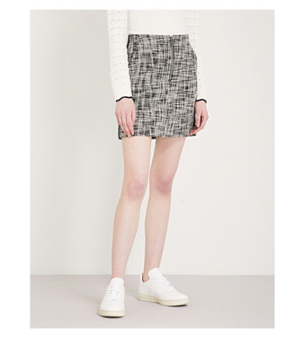 KAREN MILLEN Cotton-blend tweed mini skirt (Monochrome