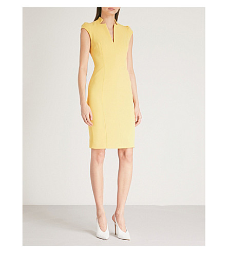 KAREN MILLEN V-neck crepe pencil dress (Yellow