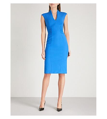 KAREN MILLEN Ruched panelled woven pencil dress (Blue